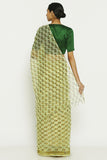 Mint Green Handloom Pure Cotton Kota Doriya Saree with Traditional Sanganeri Print