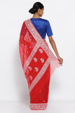Bright Red Pure Silk Banarasi Chiffon Saree with All Over Silver Zari Motifs and Detailed Border and Pallu