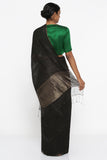 Black Matka Silk Saree with Gold Zari Checked Pattern and Tissue Pallu