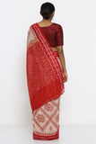 Beige Handloom Pure Cotton Sambalpuri Saree with Deep Red Ikat Pattern