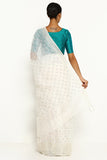Off White Pure Linen Silk Saree with All Over Embroidery