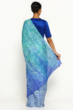 Light Blue Pure Tussar Silk Saree with All Over Traditional Hand-Dyed Shibori Print