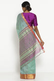 Mint Green Handloom Silk Cotton Mangalagiri Saree with Contrasting Pink Border