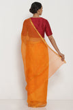 Orange Pure Silk Kota Doria Saree with Traditional Leheriya Pattern