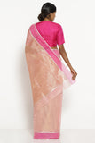 Powder Pink Handloom Silk Tissue Chanderi Saree with Detailed Pallu