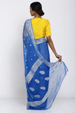 Blue Handloom Pure Chiffon Banarasi Saree with All Over Zari Motif and Rich Border