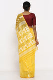 Yellow Jamdani Saree with White Self Weave Motif and Paisley Border