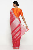 Red Pure Linen Saree with Rich Silver Tissue Border