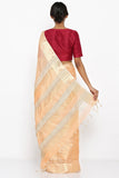 Peach Handloom Tissue Saree with Gold Border