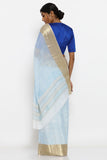Light Blue Pure Chiffon Saree with Gold Zari Border