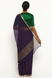 Deep Purple Pure Chiffon Saree with Gold Zari Border