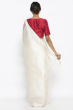 White Handloom Pure Tussar Silk Sheer Saree with Checked Pattern and Silver Zari Border