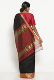 Black Handloom Silk Cotton Mangalagiri Saree with Contrasting Red Border
