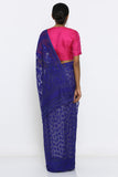 Deep Blue Jamdani Saree with Self Weave Motif and Traditional Border