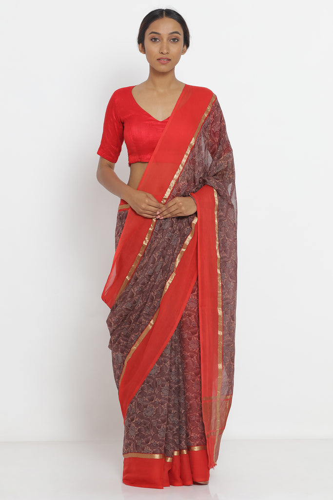 Pink-Grey Pure Chiffon Saree with All Over Digital Floral Print and Red Border