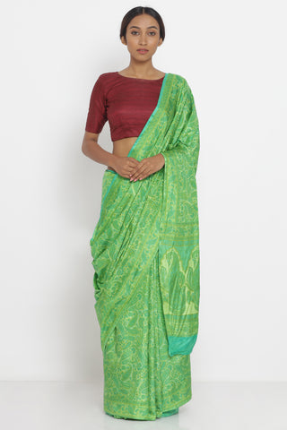 Green Handloom Pure Silk Saree with All Over Paisley Print and Detailed Pallu