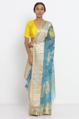 Cerulean Blue Handloom Pure Silk Sheer Saree with Floral Embroidery and Intricate Zari Border