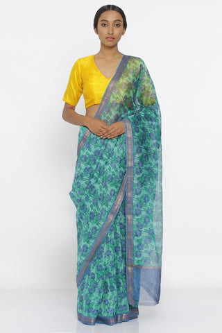 Green Handloom Pure Silk-Linen Saree with All Over Floral Print and Gold Zari Border