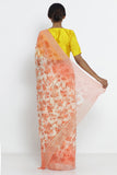 Orange Pure Chiffon Saree with All Over Digital Floral Print and Shimmer Border