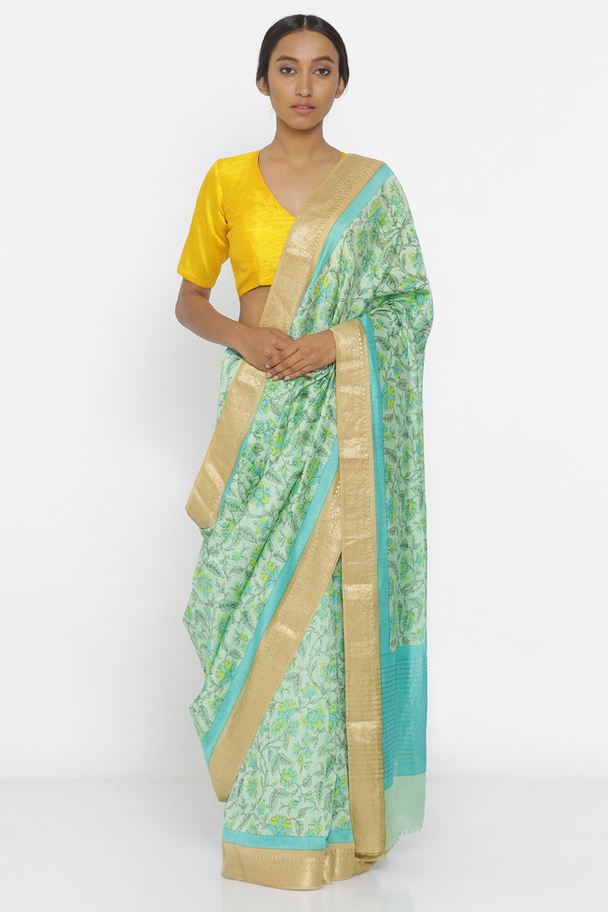 Green Handloom Pure Munga Silk Saree with All Over Floral Print and Detailed Gold Zari Border