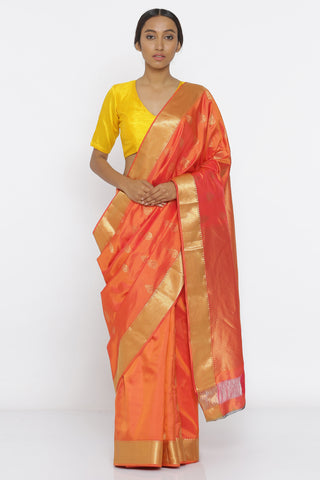 Orange Handloom Pure Silk Saree with Traditional Zari Motif and Rich Border