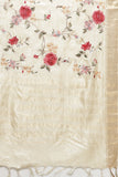 Beige Handloom Pure Tussar Silk Saree with All Over Floral Embroidery