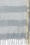 Charcoal Grey Handloom Pure Cotton Kota Saree with All Over Checked Pattern
