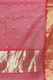 Wine Colour Handloom Pure Silk Cotton Chanderi Saree with All Over Gold Motifs