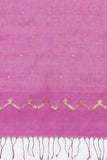 Deep Pink Handloom Pure Cotton Saree with Gold Zari Buttis