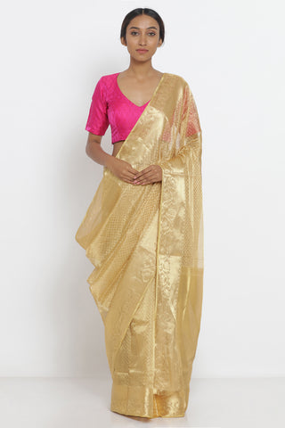 Gold Handloom Pure Silk-Tissue Sheer Saree with All Over woven motif and woven border
