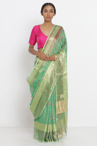 Green Handloom Pure Silk Sheer Saree with All Over Floral Embroidery and Detailed Zari Border