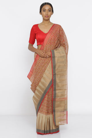 Brown Handloom Pure Cotton Saree with All Over Print and Temple Border