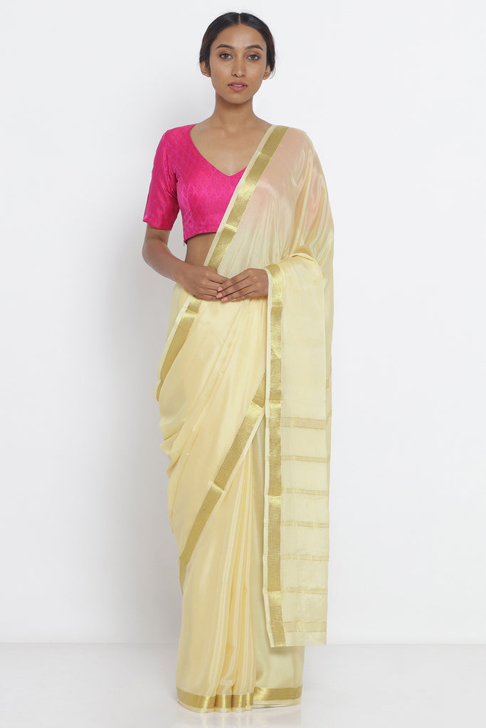 Light Yellow Pure Crepe Saree with Gold Zari Border