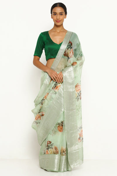 Via East mint green pure kota silk saree with all over floral print