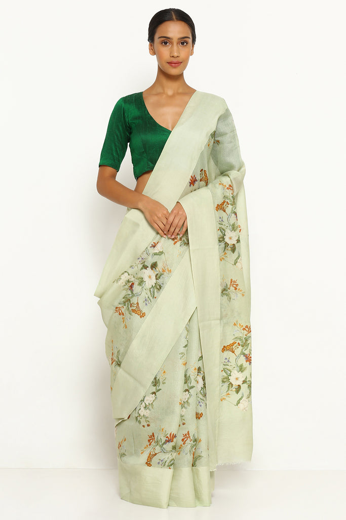 Mint Green Pure Kota Silk Saree with All Over Floral Print