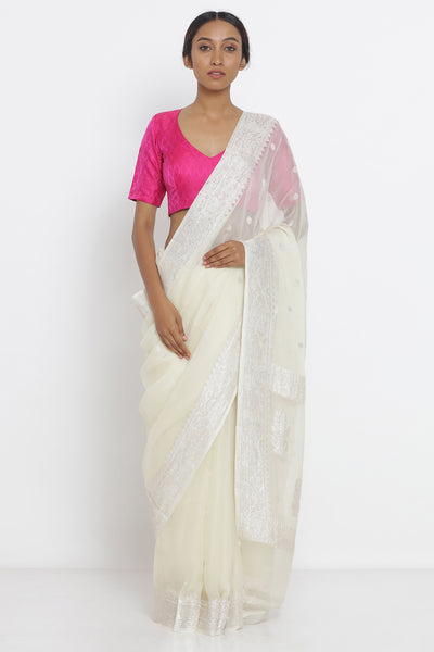 Via East cream white handloom pure georgette banarasi saree with zari motif and rich pallu