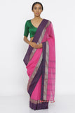Light Pink Handloom Pure Cotton Saree with Purple and Gold Zari Border