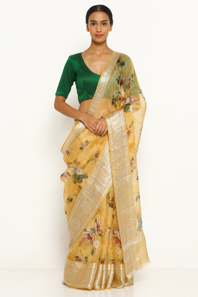 Via East yellow pure kota silk saree with all over floral print
