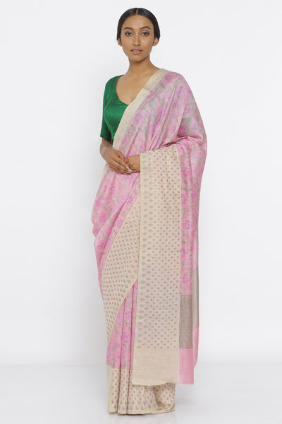 Via East pink handloom pure tussar silk saree with floral print and embroidered border