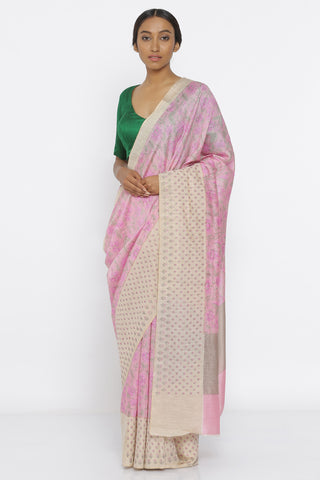 Pink Handloom Pure Tussar Silk Saree with Floral Print and Embroidery on Border