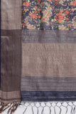 Dark Blue Handloom Pure Matka Handloom Saree with all over floral prints and an elaborate woven border