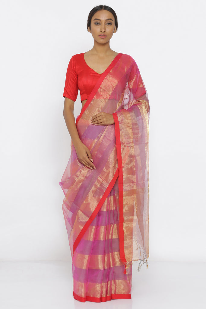 Purple Handloom Pure Organza-Tissue Saree with All Over Gold Stripes and Brocade Blouse