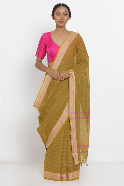 Via East mustard yellow handloom pure cotton saree with woven border and pallu