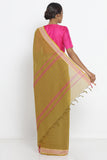 Mustard Yellow Handloom Pure Cotton Saree with Woven Border and Pallu