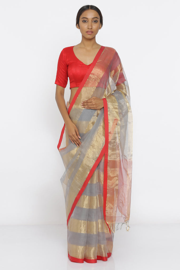 Blue Grey Handloom Pure Organza-Tissue Saree with All Over Gold Stripes and Brocade Blouse
