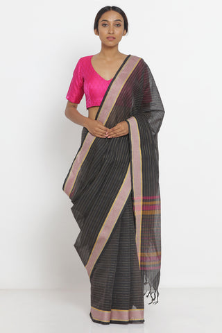 Black Handloom Pure Cotton Saree with Woven Border and Pallu