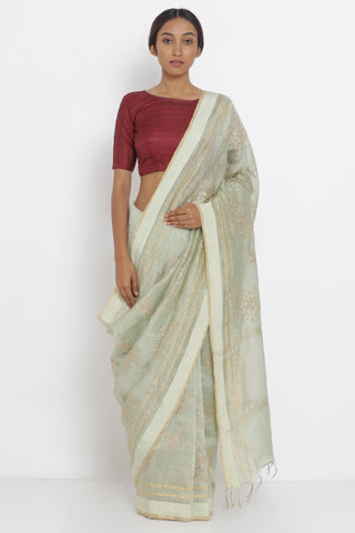 Sage Green Handloom Pure Silk-Linen Saree with Gold Pittan Embroidery and Striking Blouse