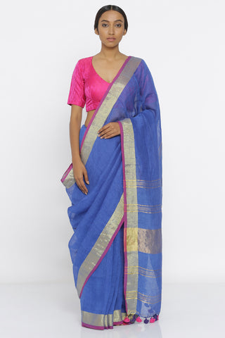 Blue Handloom Pure Linen Saree with Pink and Gold Zari Border