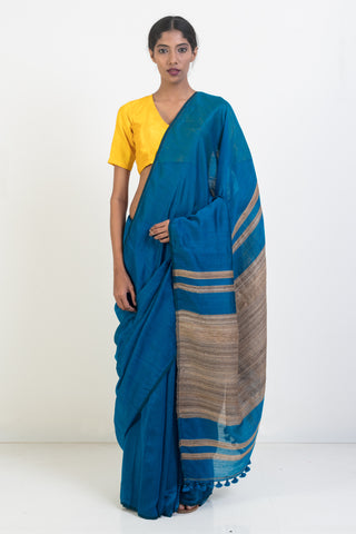 Blue Handloom Organic Banana Silk Saree with Jute Border