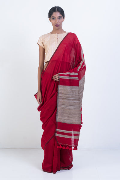 Via East red handloom organic banana silk saree